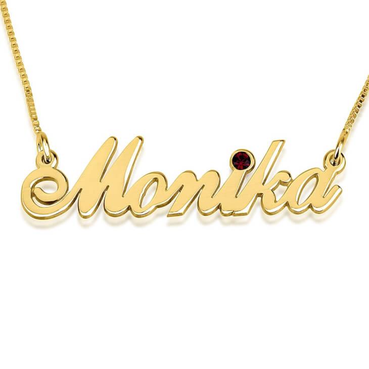24K Gold Plated Swarovski Alegro Name Necklace