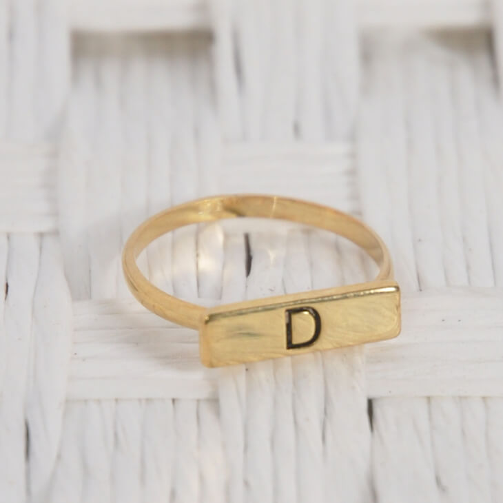 24K Gold Plated Bar Ring - Picture 2