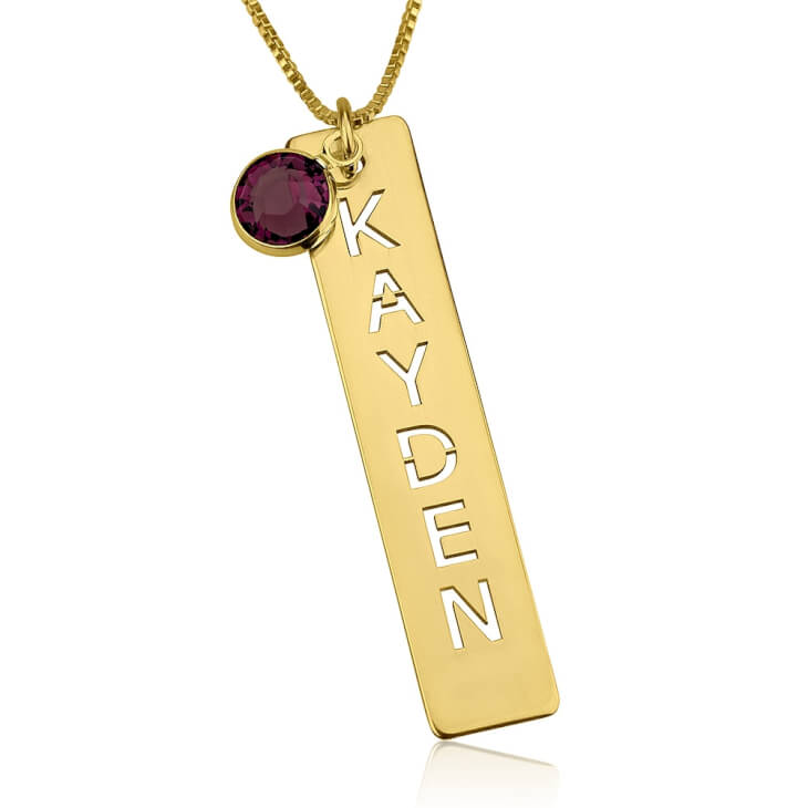 24k Gold Plated Cut Out Vertical Bar Necklace  - Picture 2