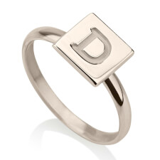 Sterling Silver Initial Cube Ring