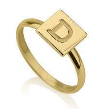 24k Gold Plated Initial Cube Ring