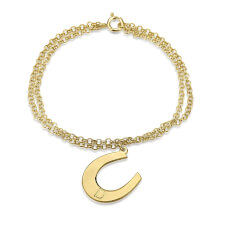 24k Gold Plated Initial Horseshoe Bracelet