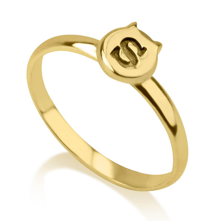24K Gold Plated Cat Midi Ring