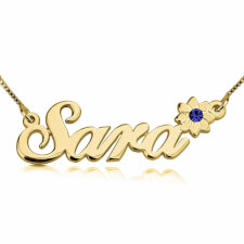 24K Gold Plated Swarovski with Flower Name Necklace