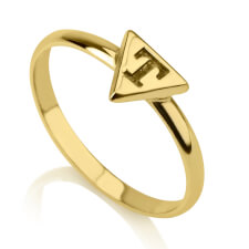 24k Gold Plated Triangle Midi Ring