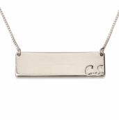 Sterling Silver Horizontal Initials Bar Necklace