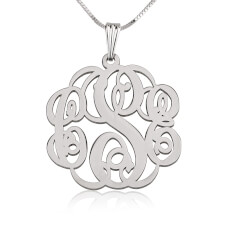 Sterling Silver Twisted Monogram Necklace