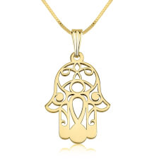 24K Gold Plated Hamsa Hand (Hand of Fatima) Necklace