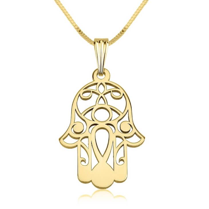 24K Gold Plated Hamsa Hand (Hand of Fatima) Necklace ...