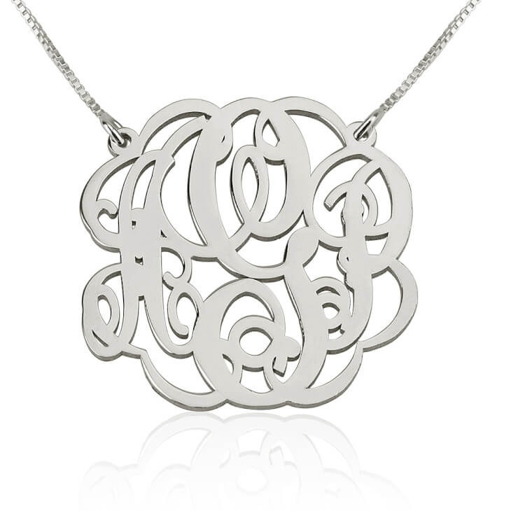 Sterling Silver Twisted  Split Chain Monogram Necklace