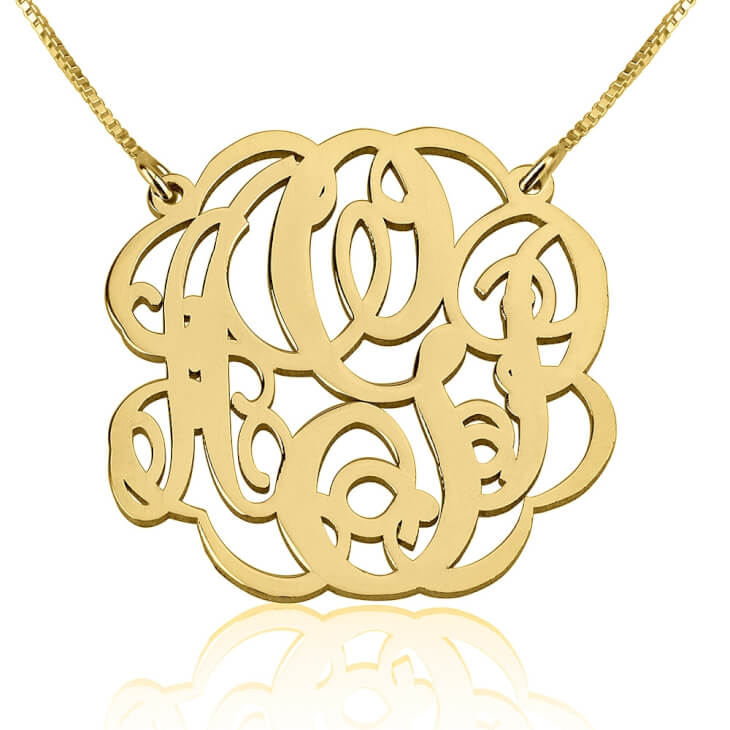 24k Gold Plated Twisted Split Chain Monogram Necklace