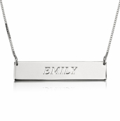 Sterling Silver Fancy Initial Horizontal Bar Necklace