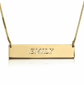 24K Gold Plated Fancy Initial Horizontal Bar Necklace