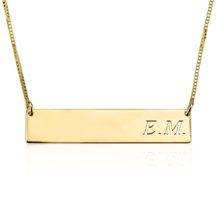24K Gold Plated Classic Name Horizontal Bar Necklace  - Picture 2