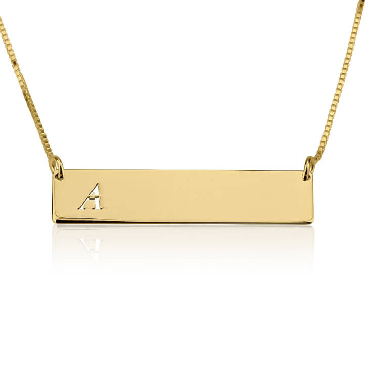 24K Gold Plated Classic Name Horizontal Bar Necklace  - Picture 3