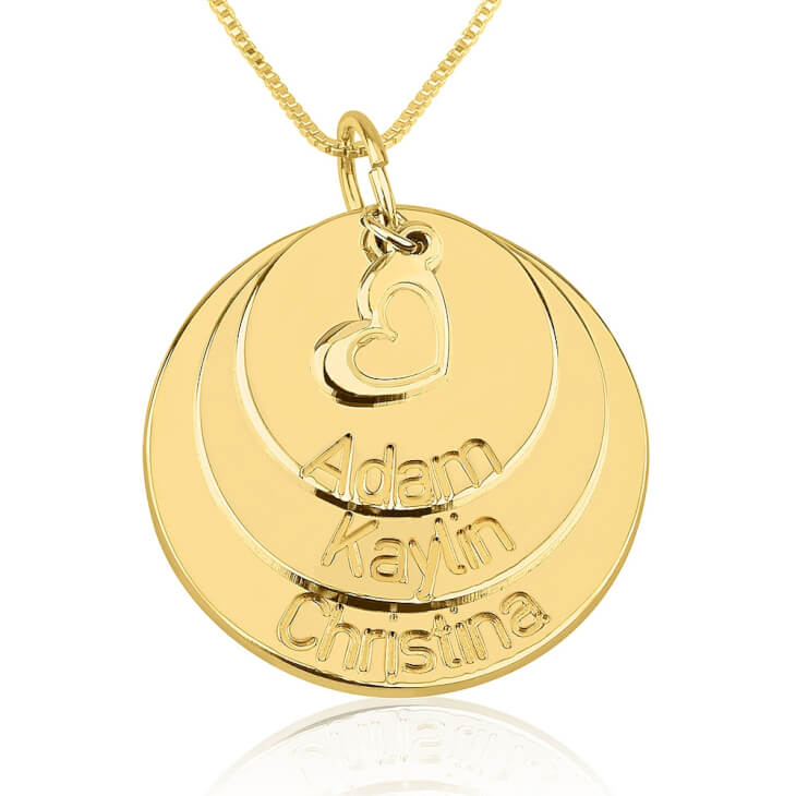 24k Gold Plated Engraved Mother Disc Necklace with Heart