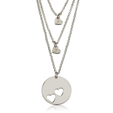 Sterling Silver Engraved Mother Daughter Heart Necklace Set