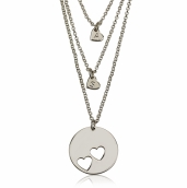 Sterling Silver Engraved Mother Daughter Heart Necklace Set