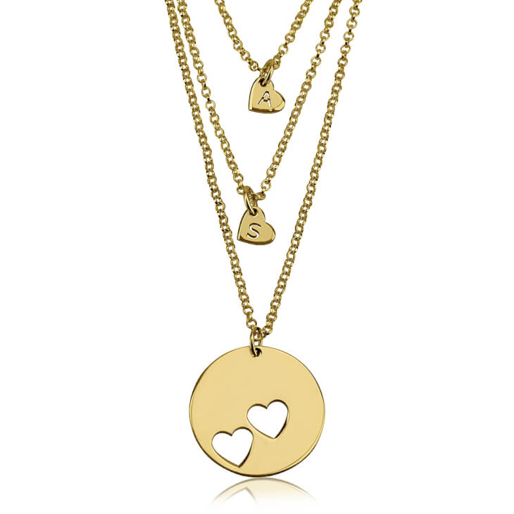 24k Gold Plated Engraved Mother Daughter Heart Necklace Set
