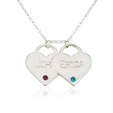 Sterling Silver Engraved Birthstone Two Heart Necklace