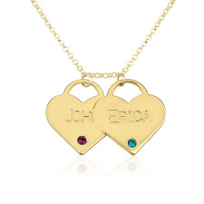 24k Gold Plated Engraved Birthstone Two Heart Necklace