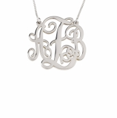 Sterling Silver Split Chain Small Monogram Necklace