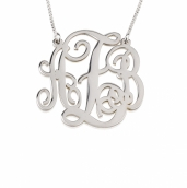 Sterling Silver Split Chain Medium Monogram Necklace