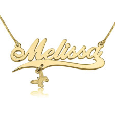 14K Gold Alegro with Line and Charm Name Necklace