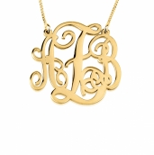 24k Gold Plated Split Chain Medium Monogram Necklace