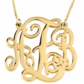 24k Gold Plated Split Chain Large Monogram Necklace