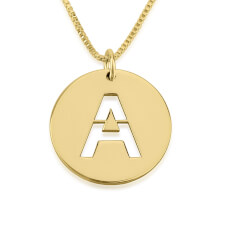 24K Gold Plated Initial Cut Out Disc Necklace