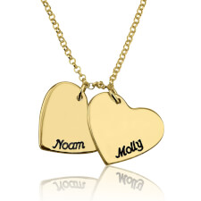 24k Gold Plated Engraved Hearts Love Necklace