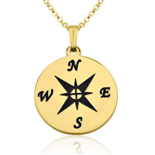 24k Gold Plated Compass Necklace
