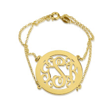 24k Gold Plated Framed Curly Monogram Bracelet with Double Chain