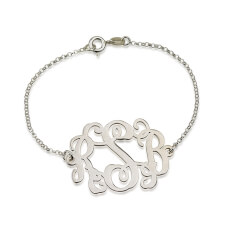 Sterling Silver Curly Monogram Bracelet