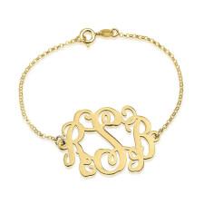 24k Gold Plated Curly Monogram Bracelet