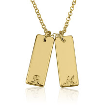 24k Gold Plated Small Vertical Bar Initial Necklace