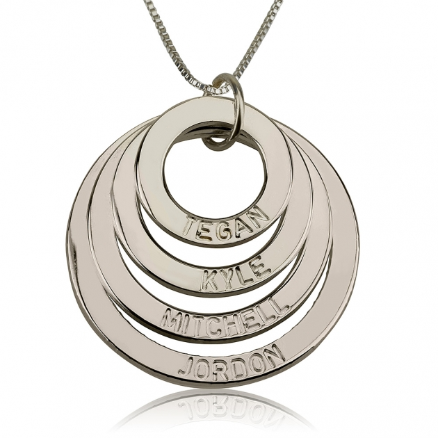 sterling silver engraved four ring mother necklace