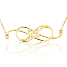 24k Gold Plated Swirly Initial Infinity Necklace