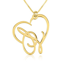 24k Gold Plated Script Initial Heart Necklace