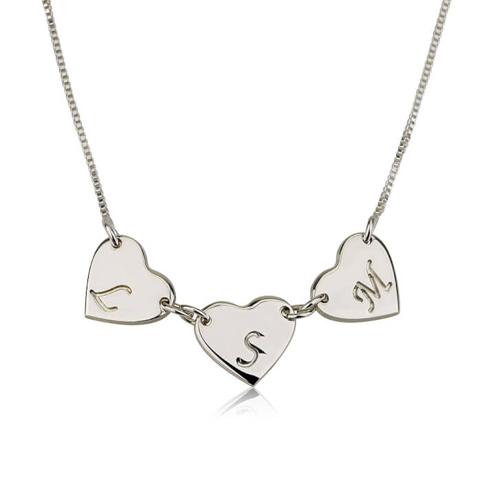 Sterling Silver Linked Hearts Initial Love Necklace  - Picture 2