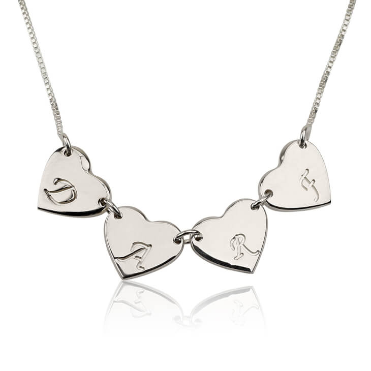 Sterling Silver Linked Hearts Initial Love Necklace  - Picture 3