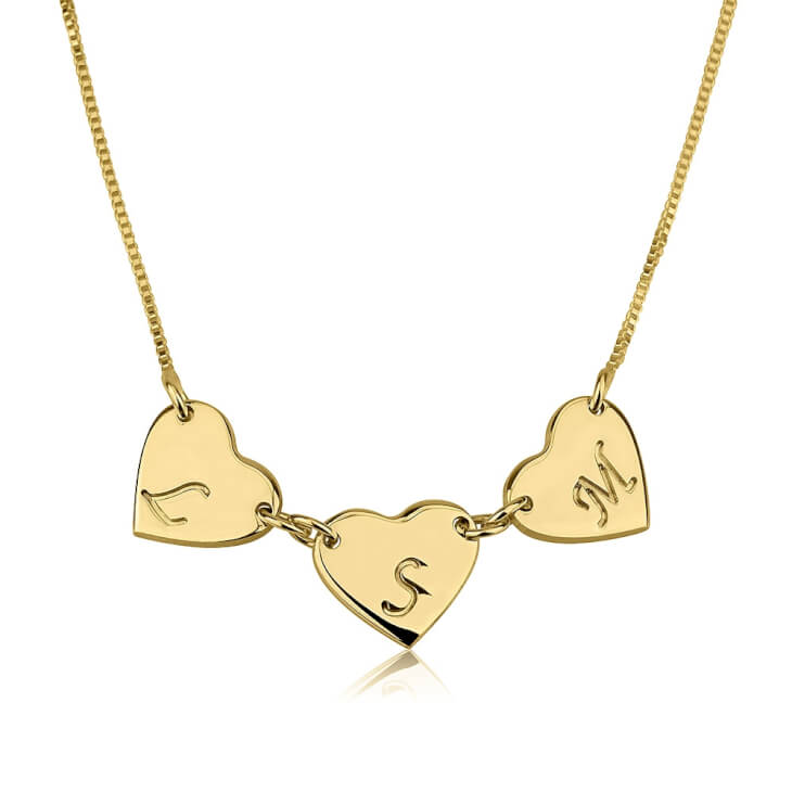 24k Gold Plated Linked Hearts Initial Love Necklace   - Picture 2