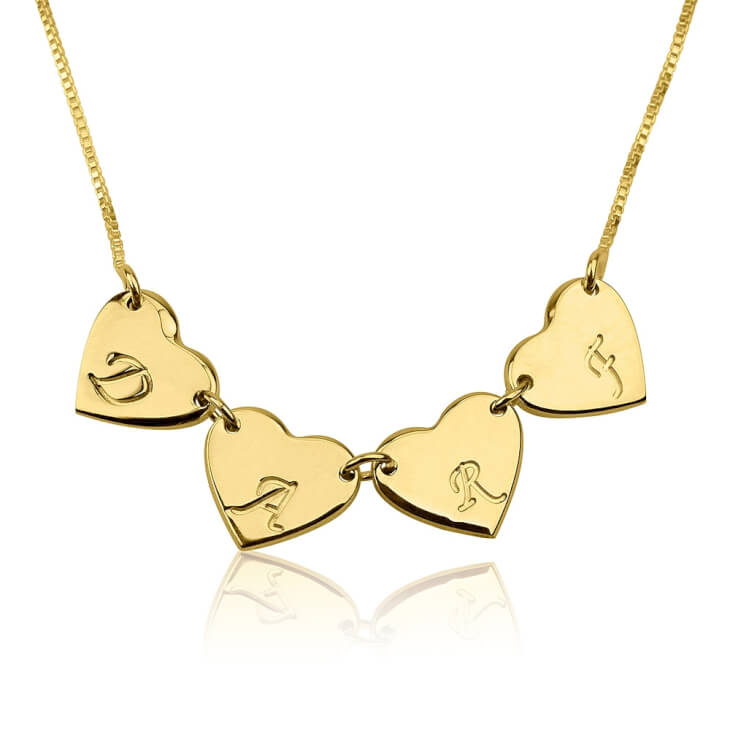 24k Gold Plated Linked Hearts Initial Love Necklace   - Picture 3