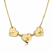 24k Gold Plated Linked Hearts Initial Love Necklace