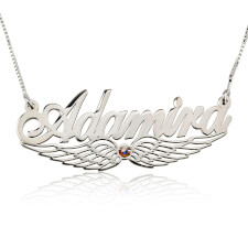 Sterling Silver Wing Name Necklace with Swarovski Stone