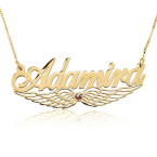 24k Gold Plated Wing Name Necklace with Swarovski Stone - Thumb