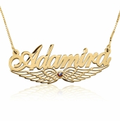 24k Gold Plated Wing Name Necklace with Swarovski Stone