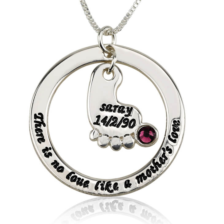Sterling Silver Mother's Baby Footprint Love Necklace with Birthstone