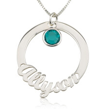 Sterling Silver Circle Necklace with Name and Swarovski Birthstone